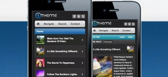 Iphone websites - 25 Professional Mobile WordPress Themes