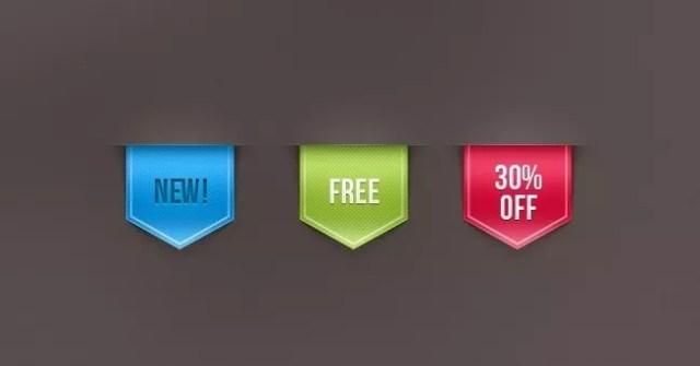 001 web ribbon sale label vol 1 - PSD Free Web Elements