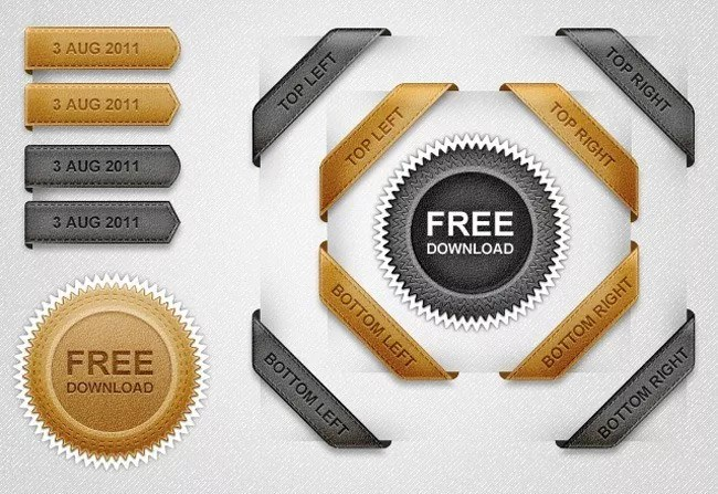 640x440x1 Leather Ribbons Web Elements Preview32 - Free PSD Web Elements