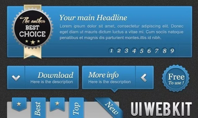UI Blue web kit - PSD Free Web Elements