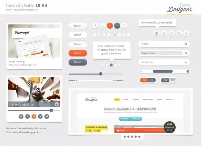 ui kit full preview 1 e1347194349126 - Free PSD Web Elements