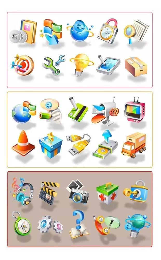 3d icon large vectorgab - 30 Icons Set Vector Graphic