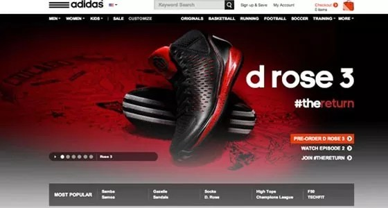 Adidas - 25 Best and Nicely Designed Sports Websites