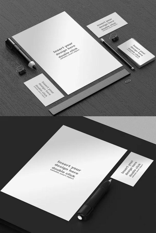 Free Black and White Stationery Mockup - 60+ Branding, Identity & Stationery Free PSD Mockups