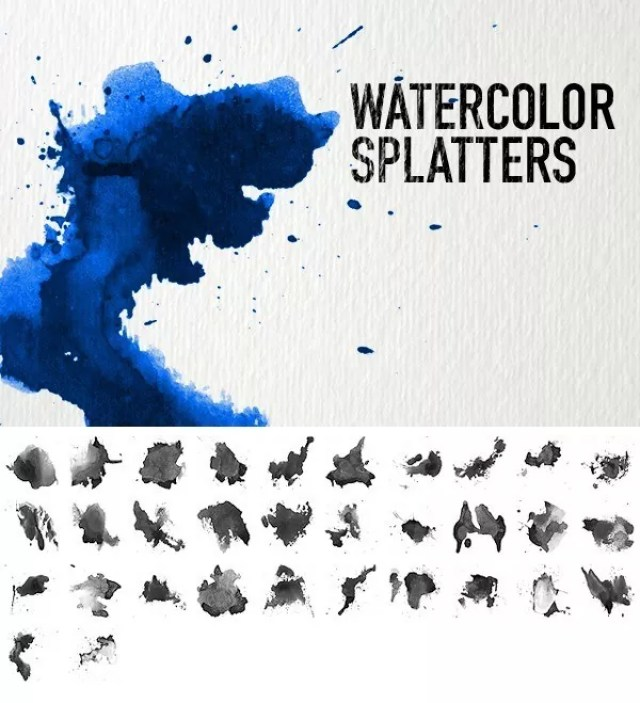 Watercolor Splatters - Free Ink and Watercolor Brush Sets for Photoshop