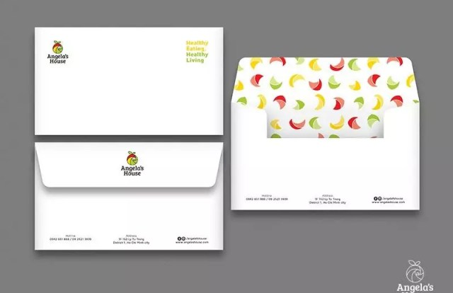 angelas house envelope with pattern brand 2 - 32 Beautiful Envelope Design Examples for Inspiration