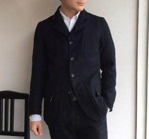 4Bクラシックウールジャケット ブラック 4B CLASSIC WOOL JKT black/DjangoAtour