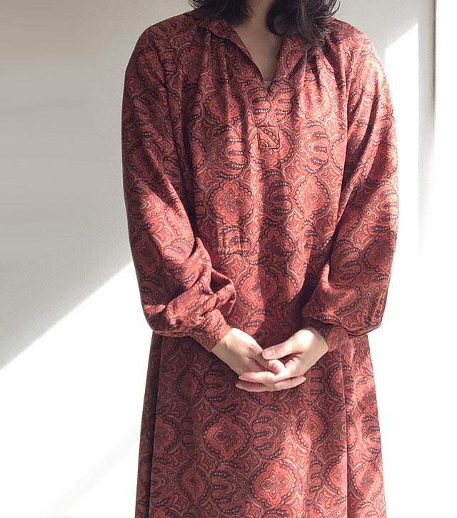 1960年代イギリス ペイズリープリントワンピース 1960's British Paisley Print Dress