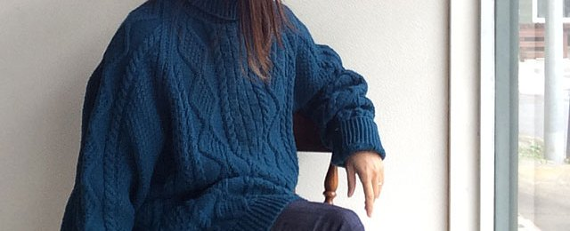 1970's Ilish Oversezed Hand Knit Rare Color Vilidian Blue