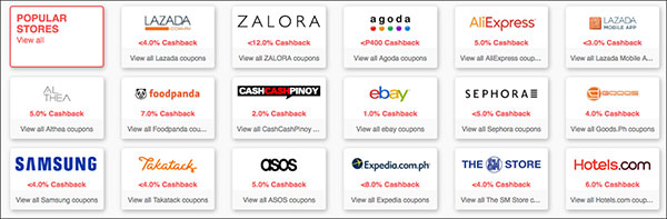 Shopback Stores List