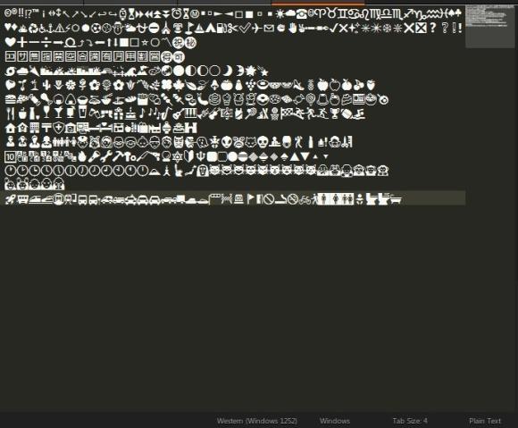 Unicodeの絵文字をWindowsのSublime Text3で表示させたところ