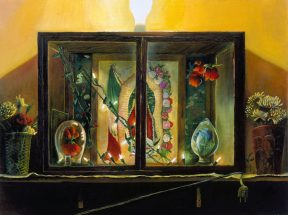 Painting of a small altar in a glass box against a yellow wall