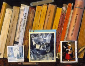 Painting of books lined up on a bookshelf with black and white photos in front