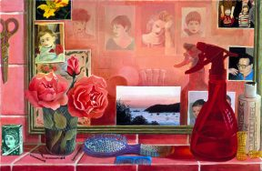 Painting of hair styling tools and flowers in a bright pink salon