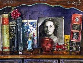 Painting of books and a black and white photo against a purple wall
