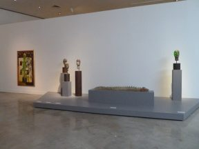 Installation shot of sculptures at a museum