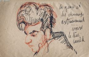 A sketch of a man with a dramatic pompadour hairdo. The sketch is executed in red and black chalk, and the artist has written notes to the right of the figure.