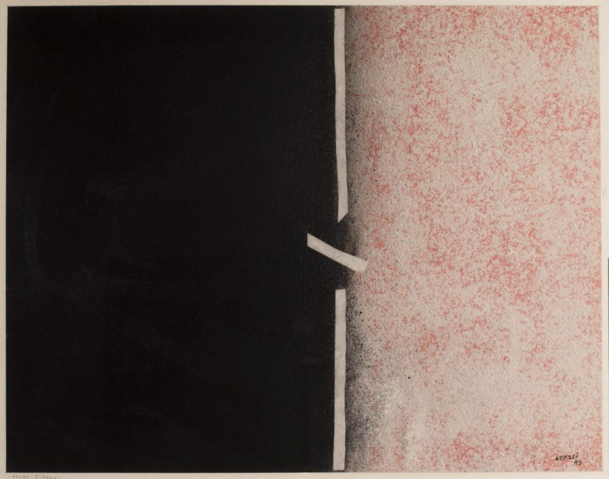 Abstract painting of of one black and one beige rectangle with a white line in the middle