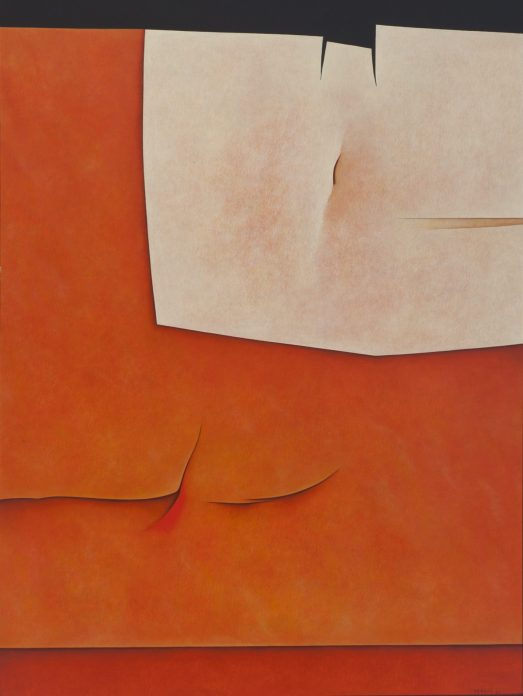 A bright orange and white geometric abstract painting