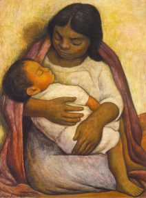 A painting in earth tones of a young Mexican woman tenderly holding her infant son on her lap