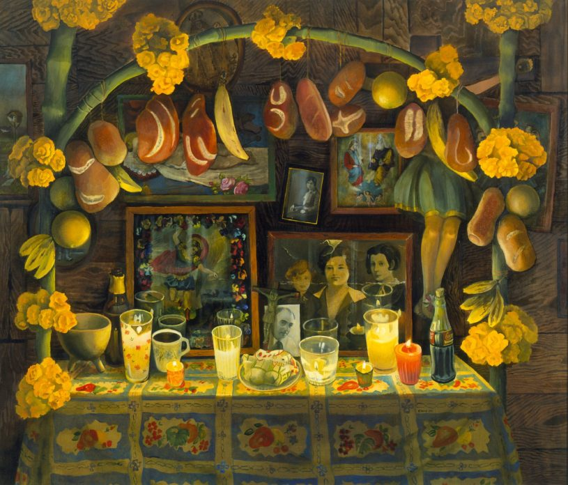 A painting of a Mexican day of the dead altar. A table is decorated with candles and family photographs line the wall. An archway over the table is hung with bread and fruit and big yellow flowers.