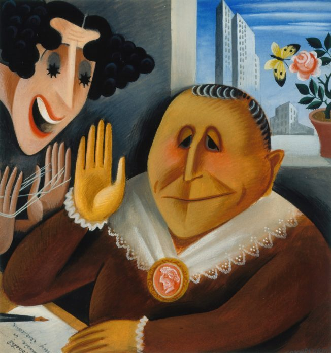 A vibrantly colored caricature of Gracie Allen doing cat's cradle while talking to Gertrude Stein. In the background there is a window with a flowerpot.