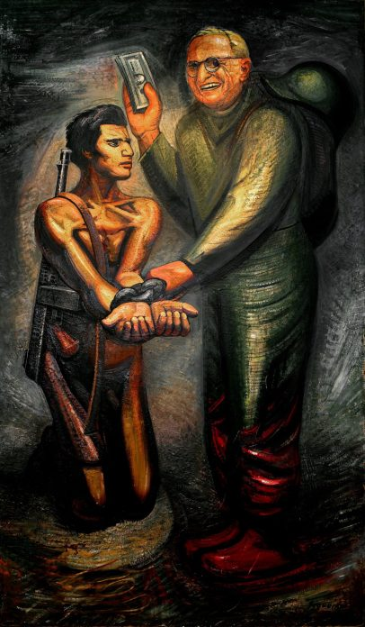 Painting of President Truman in a military uniform holding a kneeling revolutionary in chains