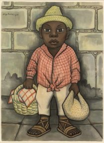 A watercolor of a boy in white pants, a red checked shirt, and a straw hat holding a bundle and a picnic basket.