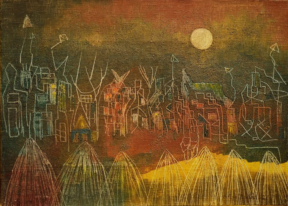 A surrealist painting in green, red and yellow showing a full moon above a row of houses.