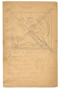 Pencil sketch of a Renaissance painting with notes
