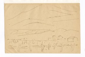 Simple pen sketch of a landscape with hills