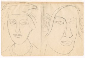 Pencil sketch of two women's heads wearing fashionable hats