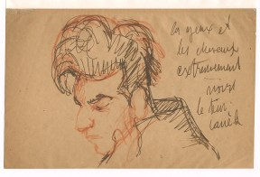Pencil sketch of a man in profile with a pompadour hairstyle