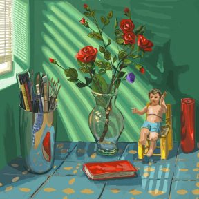 A vase of red flowers with a papier mache baby and a jar of pencils sitting on a shelf next to a window.
