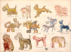 Sketch of many stylized, colorful dogs