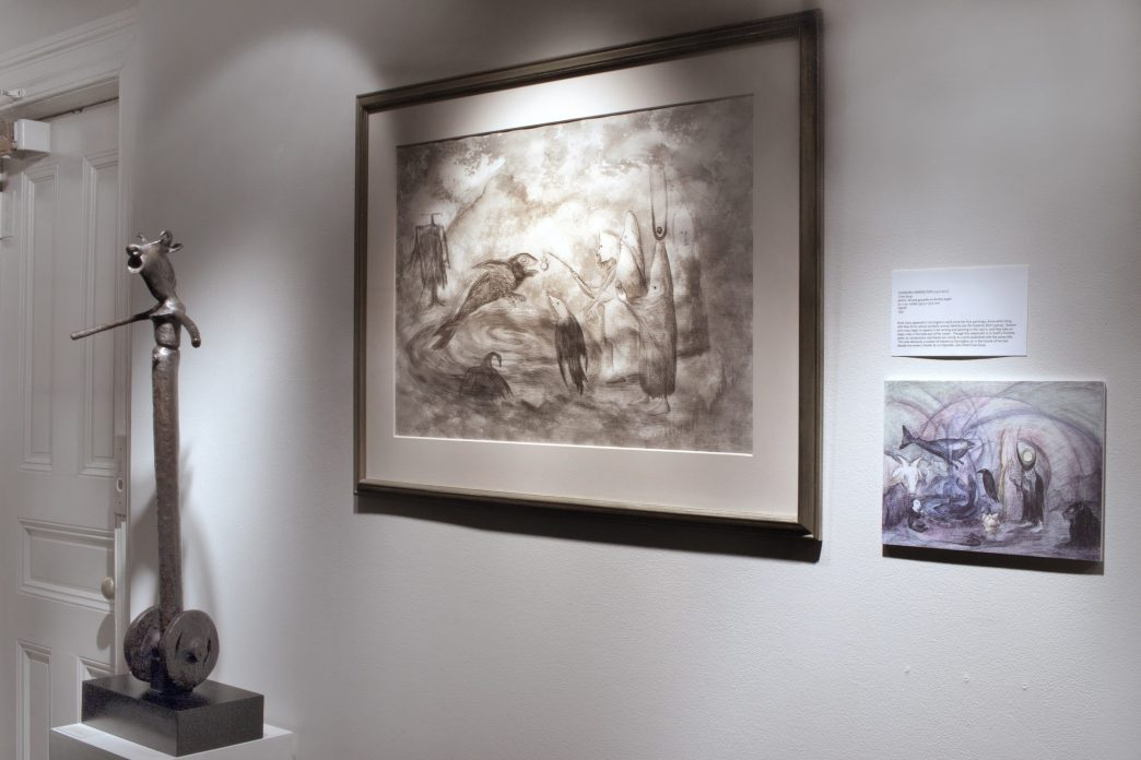 Installation shot of a watercolor and a sculpture in the gallery hallway