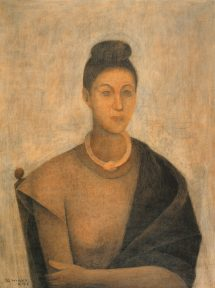 A realistic portrait of a woman wearing a shawl and a short necklace. The woman's hair is in a bun. The oil painting is in browns and pale yellow tones.