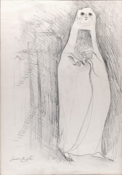 A loose sketch of a tall, ghostly figure with claw like hands