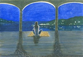 A watercolor of a woman sitting on a yellow mat on a columned porch overlooking the ocean at night