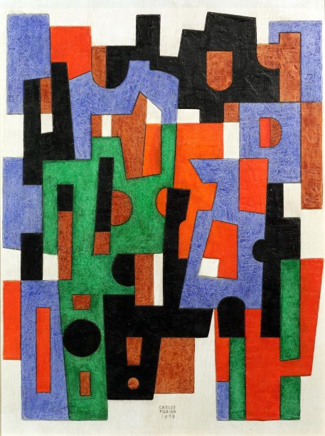 An abstract painting of interlocking geometric shapes in black, red, green and blue