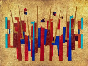 An abstract artwork featuring blue and red vertical shapes against a gold background