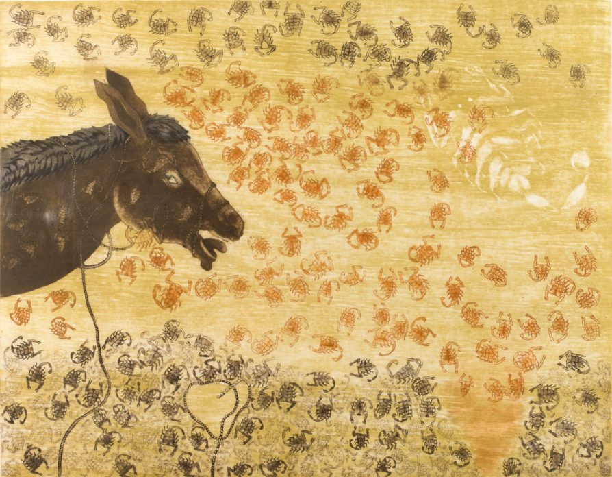 A print of a donkey's head against a yellow background covered in scorpions