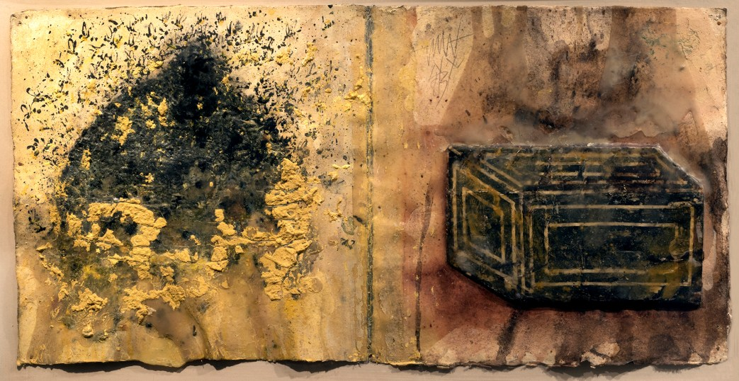 A textural mixed media artwork of a beehive and swarm of bees next to a black box