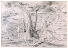 A pencil drawing of two skeletal mermaids underneath a tree. One is playing a string instrument and the other gazes at a cherub in the sky.