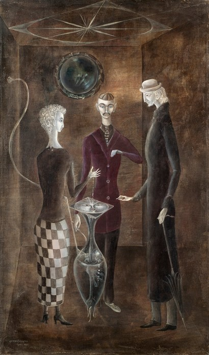 Surrealist painting of three persons gather closed together under a wind rose in a dark room