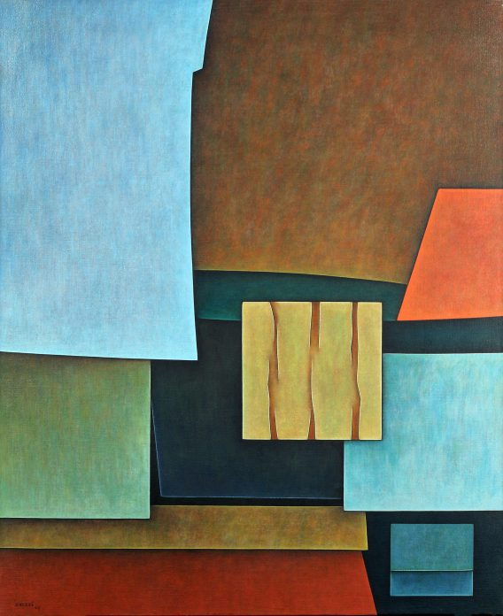 Vertical painting with geometrical shapes in bright blues, green, yellow and orange