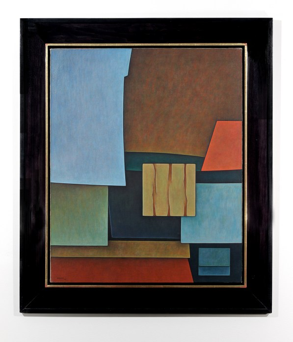 Vertical painting with geometrical shapes in bright blues, green, yellow and orange, in a black frame