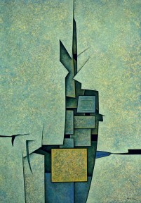 A vertical, geometric abstract painting in shades of green and blue, with a yellow square in the bottom center