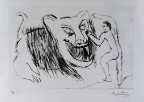 Print of a drawing with a man in front of a tiger with an open mouth