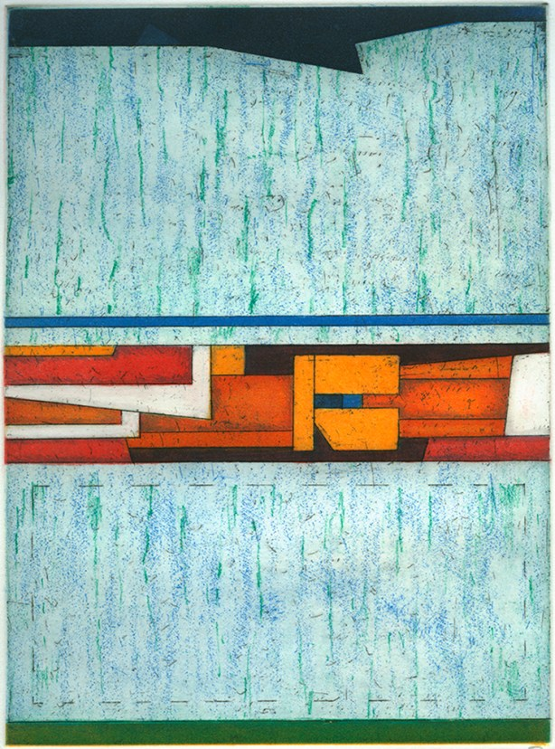 Vertical etching in bright, textured blue with geometric shapes in the middle in bright oranges and black lines